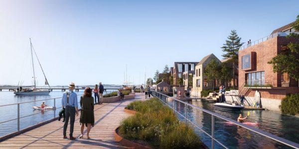 Langs den eksisterende kaj bygges nye boligkvarterer og en promenade fra nord til syd binder hele området sammen. Illustration C. F. Møller