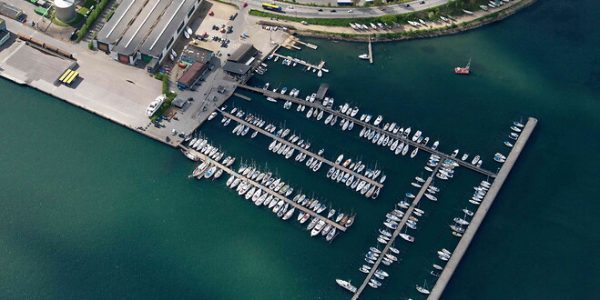Lystbådehavn Nord, der nu inddrages til erhvervshavn. Foto Kolding Havn