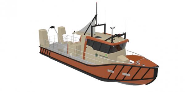 Kystdirektoratets nye opmålingsskib, der bygges hos Tuco Yacht Værft i Faaborg, forventes klar i løbet af næste år. Illustration: Kystdirektoratet