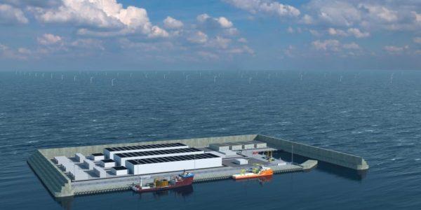 Visualisering af energiøen i Nordsøen. Visualisering: Energistyrelsen